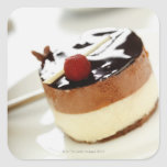 Ornate cheesecake on plate with coffee cup in sticker