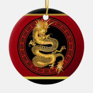 Ornate Chinese Year of the Dragon Round Ceramic Decoration