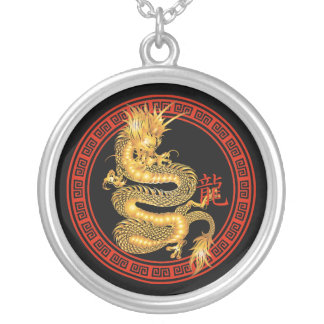 Ornate Chinese Year of the Dragon Silver Plated Necklace