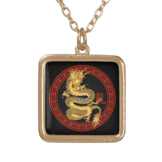 Ornate Chinese Year of the Dragon Square Pendant Necklace