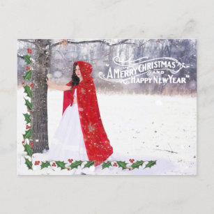 ornate christmas greeting holly border photo holiday postcard
