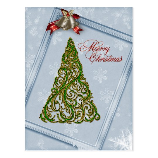 Ornate Christmas Tree and Bells Postcard