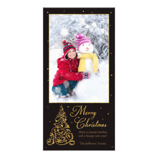 Ornate Christmas Tree Black Glitter Card