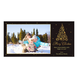 Ornate Christmas Tree Glitter Customized Photo Card