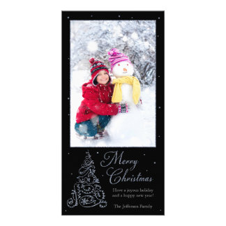 Ornate Christmas Tree Silver Card