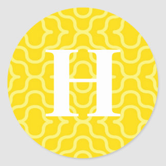 Ornate Contemporary Monogram - Letter H Round Sticker