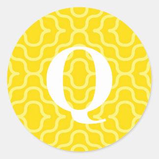 Ornate Contemporary Monogram - Letter Q Classic Round Sticker