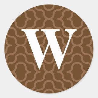Ornate Contemporary Monogram - Letter W Round Sticker