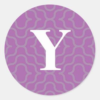 Ornate Contemporary Monogram - Letter Y Classic Round Sticker