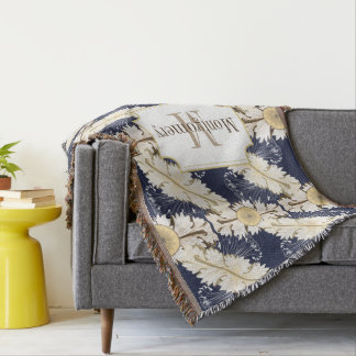 Ornate Cream Greek Acanthus Leaves Family Name Throw Blanket