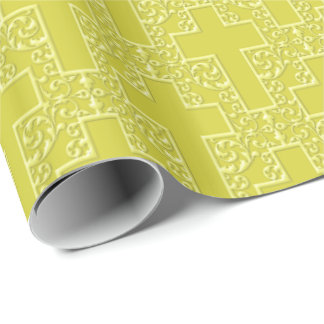 Ornate Cross-12-Yellow Wrapping Paper