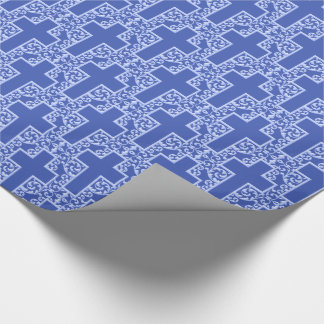Ornate Cross-4-Blue Wrapping Paper