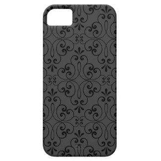 Ornate damask decorative black gray iPhone 5 case