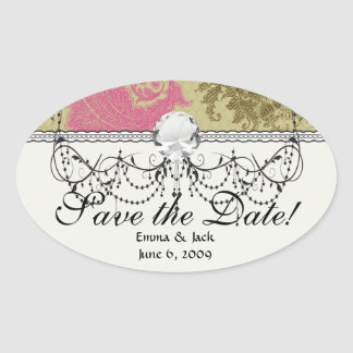 ornate damask lattice aqua pink tan oval stickers