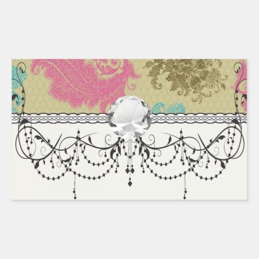 ornate damask lattice aqua pink tan rectangle stickers