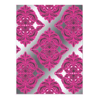 Ornate Damask Pink, Black, Silver 17 Cm X 22 Cm Invitation Card