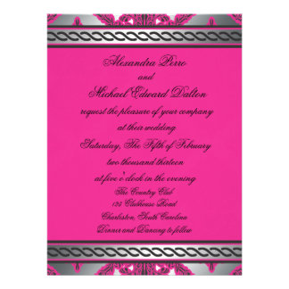 Ornate Damask Pink Black Silver Personalized Invitation