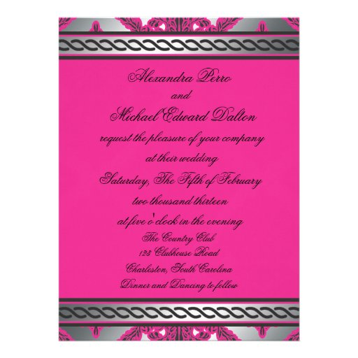 Ornate Damask Pink, Black, Silver Personalized Invitation