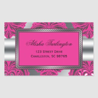 Ornate Damask Pink, Black, Silver Rectangular Sticker