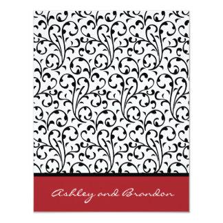 Ornate Damask Wedding RSVP  Black and Red 11 Cm X 14 Cm Invitation Card