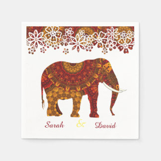 Ornate Decorated Indian Elephant Design Paper Napkins