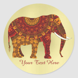 Ornate Decorated Indian Elephant Design Round Sticker