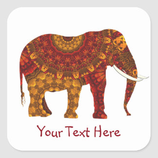 Ornate Decorated Indian Elephant Design Square Sticker