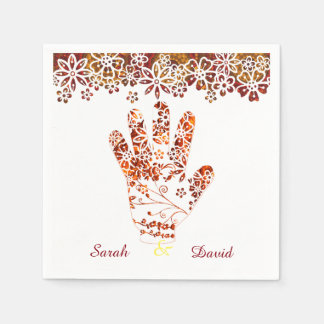 Ornate Decorated Mehndi Henna Hand Design Paper Napkins