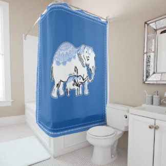 Ornate Elephants Blue and White Shower Curtain