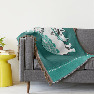 Ornate Elephants Deep Green Throw Blanket