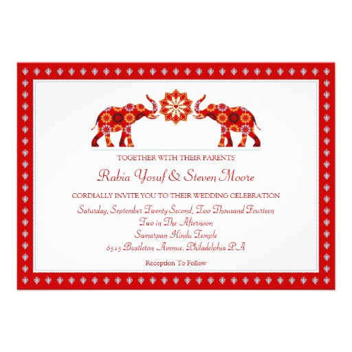Ornate Elephants Wedding Invitation