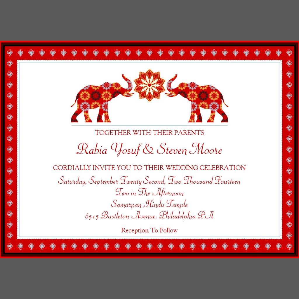 Elephant Wedding Invitations Ornate Elephants Wedding