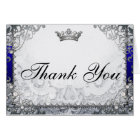 Ornate Fairytale Blue & Silver Thank You Card