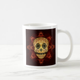Ornate Flame Sugar Skull Coffee Mug