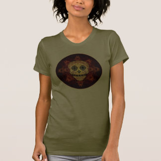 Ornate Flame Sugar Skull Ladies Shirt
