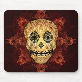 Ornate Flame Sugar Skull Mouse Pad