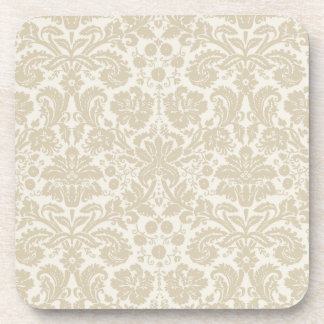 Ornate floral art nouveau pattern beige coaster