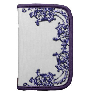 Ornate floral blue scroll swirl travel planner