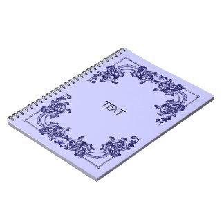 Ornate floral blue swirl note books