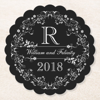 Ornate Floral Chalkboard Monogram Wedding Year Paper Coaster