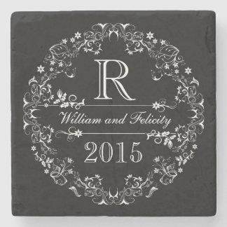 Ornate Floral Chalkboard Monogram Wedding Year Stone Beverage Coaster
