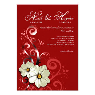 Ornate Floral Flourish Monogram | red Cards