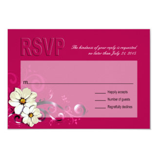 Ornate Floral Flourish RSVP   fuchsia 9 Cm X 13 Cm Invitation Card