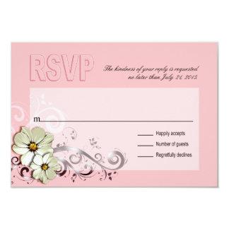 Ornate Floral Flourish RSVP   pink 9 Cm X 13 Cm Invitation Card