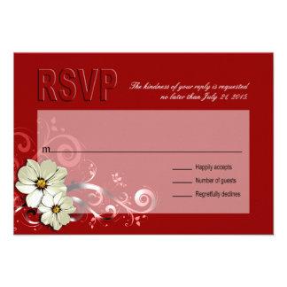 Ornate Floral Flourish RSVP | red Custom Invitation