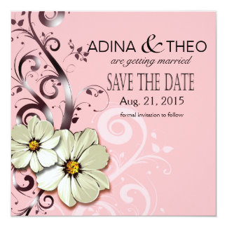 Ornate Floral Flourish Save the Date | pink 13 Cm X 13 Cm Square Invitation Card
