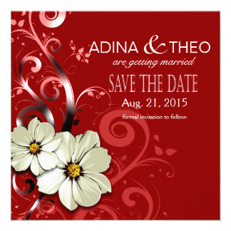 Ornate Floral Flourish Save the Date | red Personalized Announcement