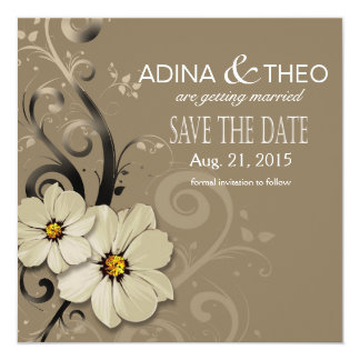 Ornate Floral Flourish Save the Date | taupe 13 Cm X 13 Cm Square Invitation Card