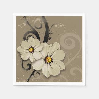 Ornate Floral Flourish | taupe Disposable Serviettes