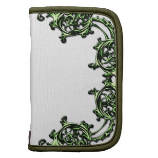 Ornate floral green scroll swirl travel planner